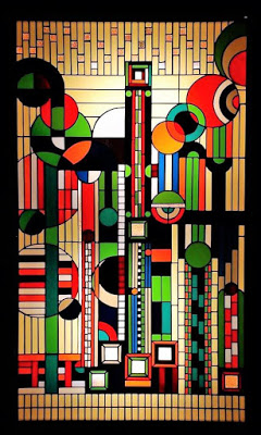 Art deco window designed by Frank Lloyd Wright.
